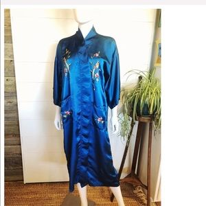 VTG Kimono Blue Rayon Pockets  Midi Robe Asian